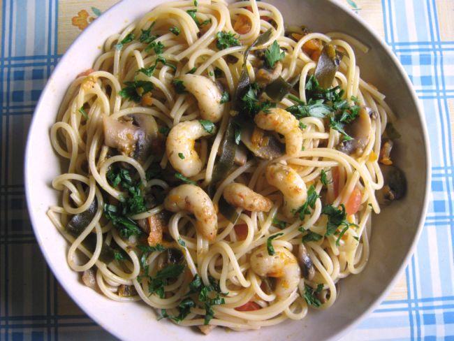 spaghetti con gamberetti vegan