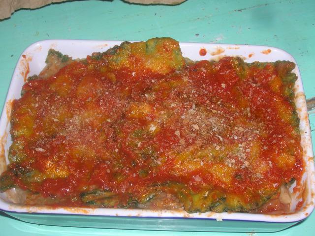 parmigiana di borragine pronta per il forno p