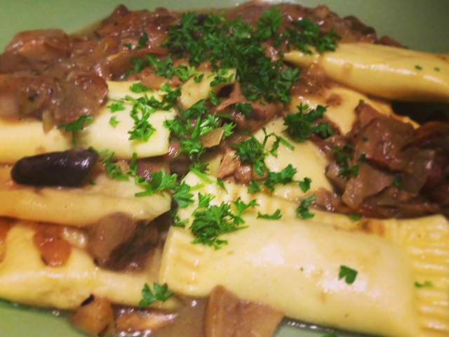 ravioli di zucca e patate ai funghi misti