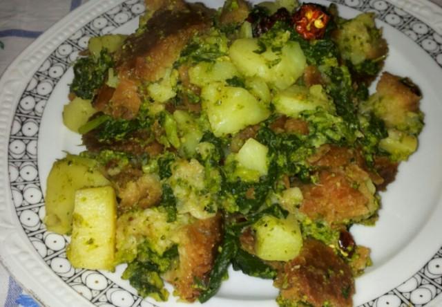 Pan cotto di rape, patate e peperoni cruschi