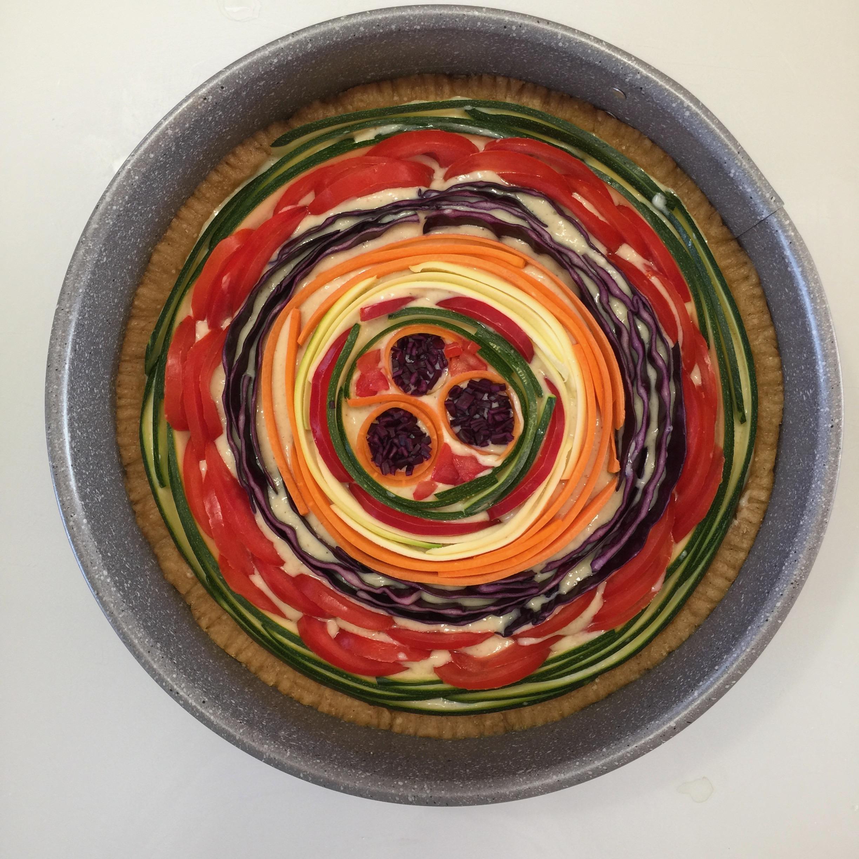 torta salata arcobaleno pronta per il forno