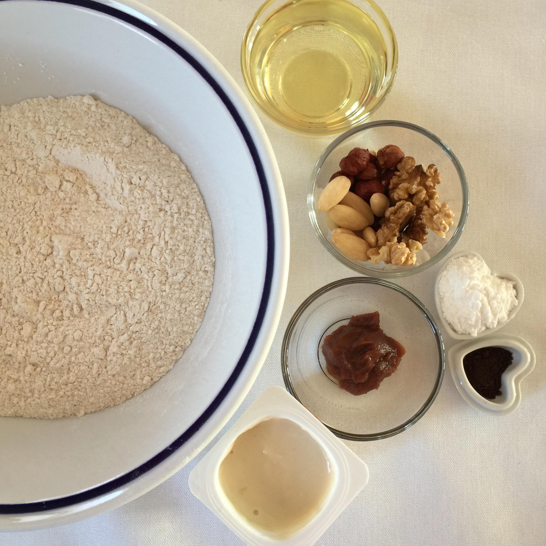 ingredienti per le focaccine morbide, impasto e ripieno